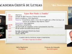 Convite 20/10/2020: Tertúlia da Academia Cristã de Letras